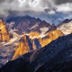 Detail of dramatic mountain range with colorful sunlight, Svaneti - PhotoDune Item for Sale