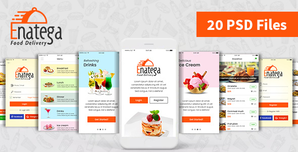 Enatega - Food Delivery Mobile App PSD - Food Retail
