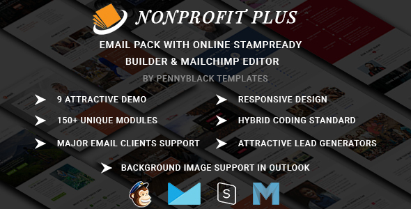 Nonprofit Plus - Email Pack With Online StampReady & Mailchimp Editors by pennyblack