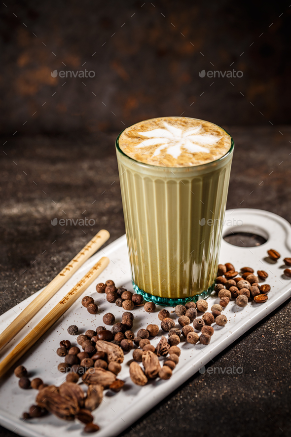 Coffee latte with cardamom - Stock Photo - Images