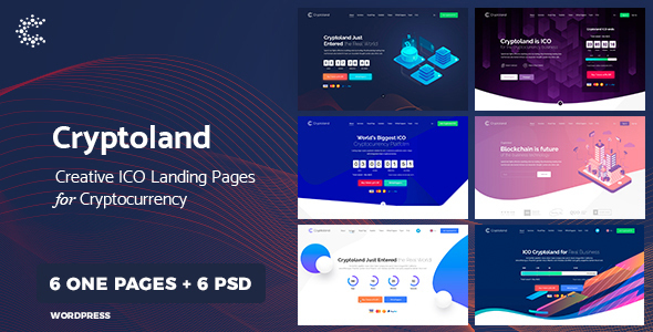 Cryptoland - WordPress Cryptocurrency Landing Page Theme