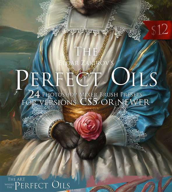The Perfect Oils. Part 1. 24 Mixer Brush Presets for Photoshop - Artistic Brushes