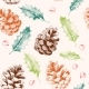 Seamless Pattern with Pine Cones and Holly - GraphicRiver Item for Sale