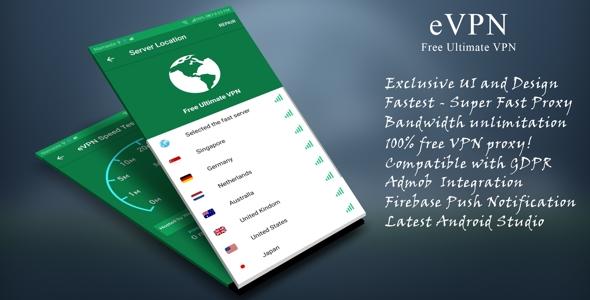 eVPN - Free Ultimate VPN | Beautiful UI, Admob, Push Notification - CodeCanyon Item for Sale