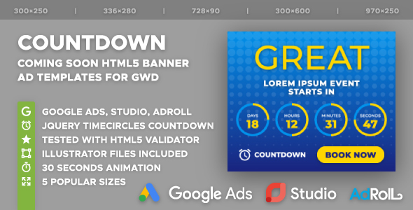 The Countdown - Coming Soon HTML5 Banner Ad Templates (GWD) - CodeCanyon Item for Sale