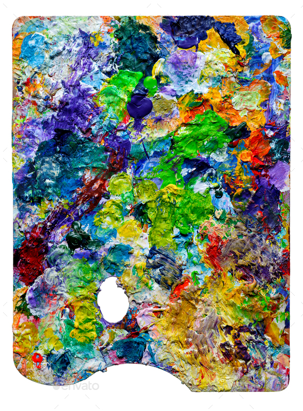 Artist palette with colorful paint spots - Stock Photo - Images