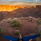 Hiker rests on a hammock admiring the sunset East Fork Shafer Ca - PhotoDune Item for Sale