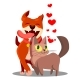 Cat With Dog In Love With Flying Hearts Vector - GraphicRiver Item for Sale