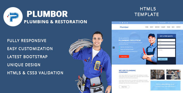 Fabulous Plumbor - Plumber and Repair Services Maintenance HTML Template