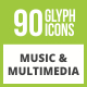 90 Music & Multimedia Glyph Inverted Icons - GraphicRiver Item for Sale