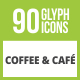 90 Coffee & Cafe Glyph Inverted Icons - GraphicRiver Item for Sale