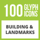100 Building & Landmarks Glyph Inverted Icons - GraphicRiver Item for Sale