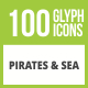 100 Pirate & Sea Glyph Inverted Icons - GraphicRiver Item for Sale