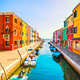 Venice landmark, Burano island canal, colorful houses and boats, - PhotoDune Item for Sale