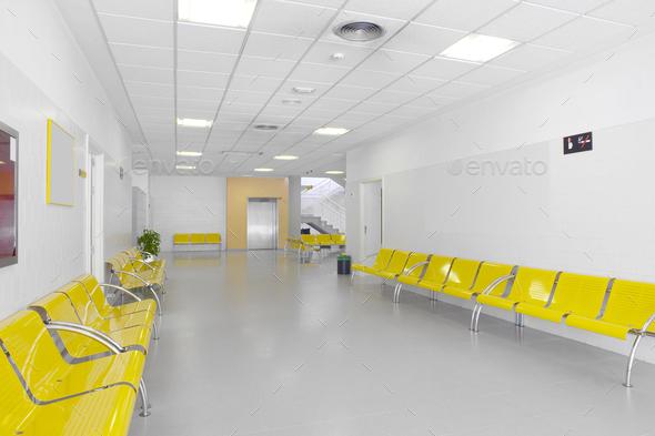 Public building waiting area. Hospital interior detail. Nobody. Horizontal - Stock Photo - Images