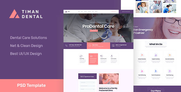 Timan - Dental & Clinic PSD Template