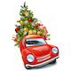 Free Download Vector Red Car with Christmas Tree Nulled