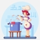 Woman Smiling and Happy Chef Cook in the Kitchen - GraphicRiver Item for Sale