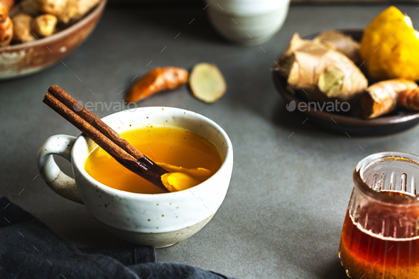 Turmeric with Ginger and Lemon Tea - Stock Photo - Images