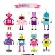 Cartoon Robots Set for Girls - GraphicRiver Item for Sale