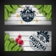 Free Download Merry Christmas Banner Design with Glass Ball Nulled