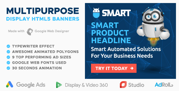 Smart - Multipurpose Animated HTML5 Banners with Typewriter Effect (GWD)            Nulled