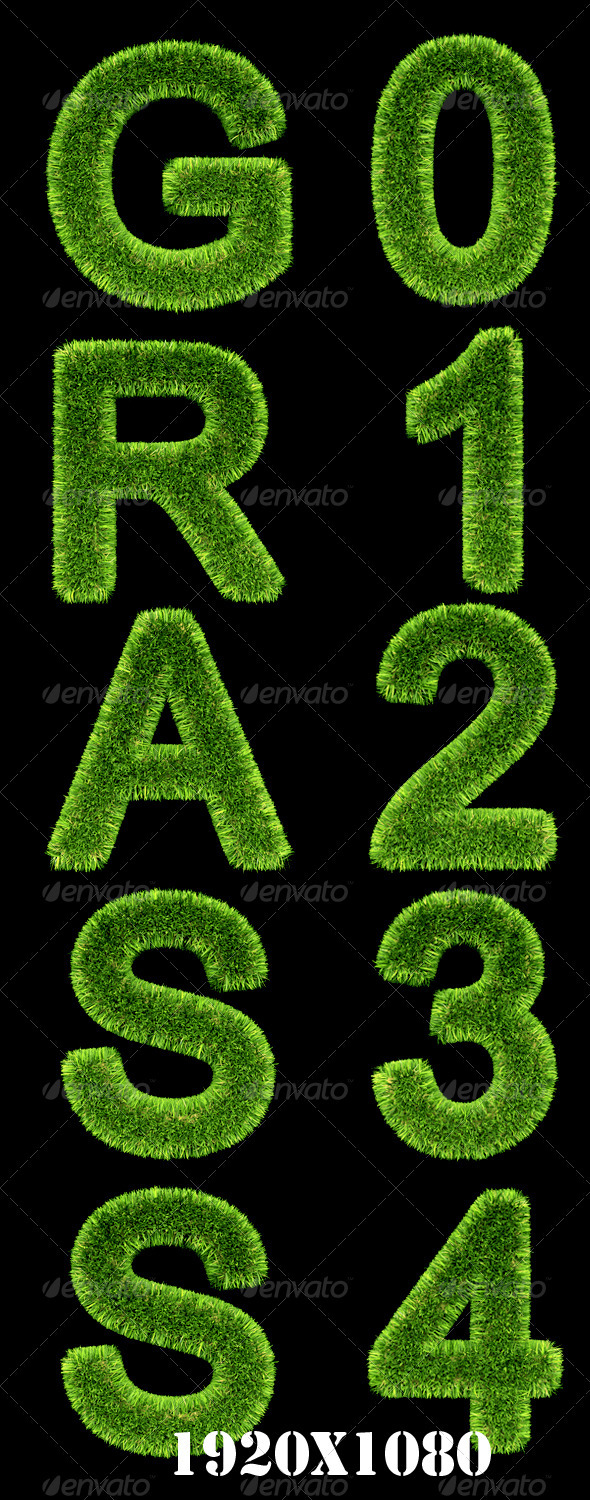 Grass Text Effect - Text 3D Renders