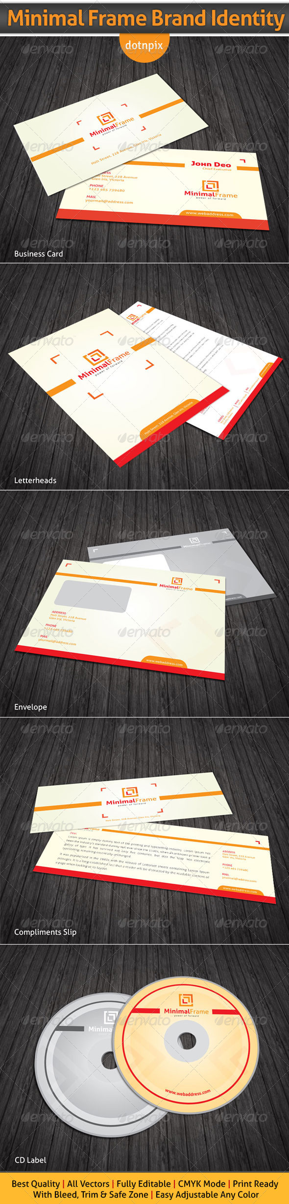 Minimal Frame Brand Identity - Stationery Print Templates