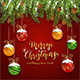 Christmas Lettering on Red Knitted Background with Balls and Snow - GraphicRiver Item for Sale