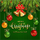 Christmas Lettering on Green Knitted Background with Golden Bells and Balls - GraphicRiver Item for Sale