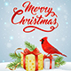 Christmas Background with Red Cardinal Bird - GraphicRiver Item for Sale