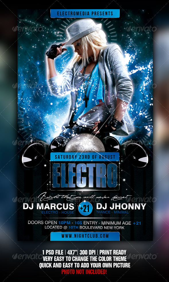 Electro Party Flyer By Fadeink  Graphicriver