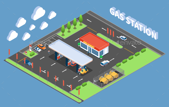 Gas Station Isometric Composition - Buildings Objects