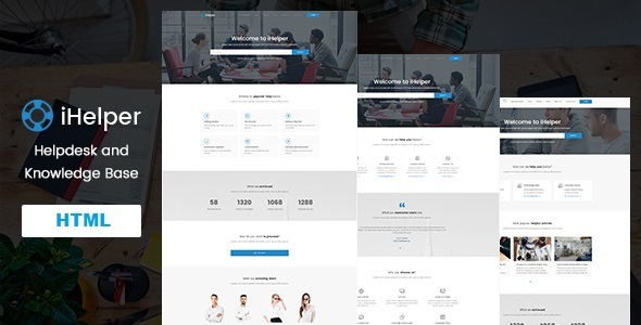 iHelper - Helpdesk and Knowledge Base HTML Template Free Download | Nulled