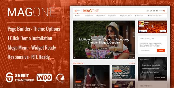 MagOne - Responsive Magazine & News WordPress Theme Free Download