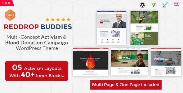 Reddrop Buddies – Multi-Concept Activism & Blood Donation Campaign WordPress Theme - Activism Nonprofit