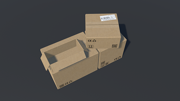 PBR Cardboard Boxes Animated And Destructible - 3DOcean Item for Sale