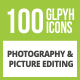 Free Download 100 Photography & Picture Glyph Inverted Icons Nulled
