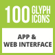 Free Download 100 App & Web Interface Glyph Inverted Icons Nulled