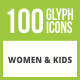 Free Download 100 Women & Kids Glyph Inverted Icons Nulled