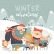 Winter Season Background People Characters - GraphicRiver Item for Sale