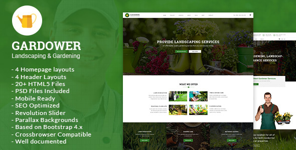 Gardower - Landscaping & Gardening HTML5 Template - Business Corporate