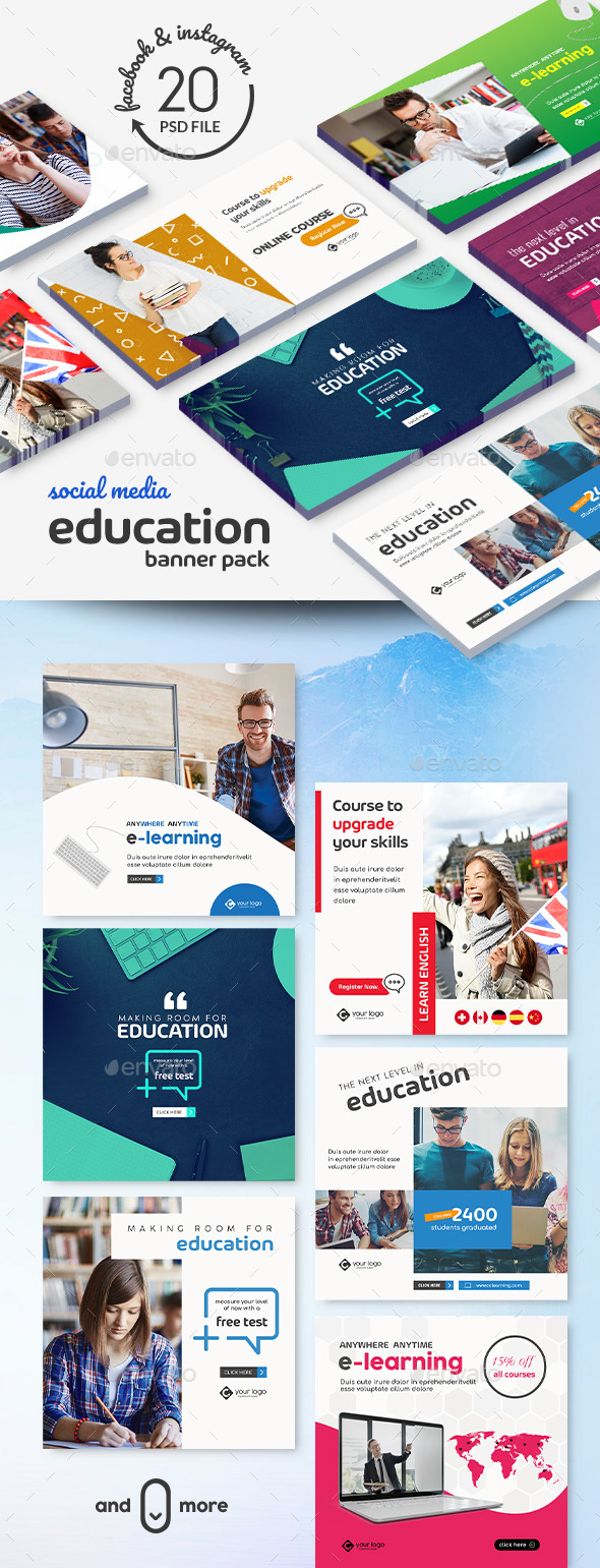 Education Banner Pack - Banners & Ads Web Elements