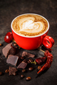 Coffee cup with chili peppers and chocolate - PhotoDune Item for Sale