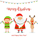 Santa with Happy Elf and Deer Holding Christmas Light - GraphicRiver Item for Sale