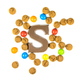 Chocolate letter S with bunch of scattered pepernoten cookies - PhotoDune Item for Sale