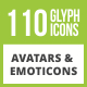 Free Download 110 Avatars & Emoticons Glyph Inverted Icons Nulled