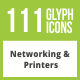 Free Download 111 Networking & Printers Glyph Inverted Icons Nulled