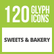 120 Sweets & Bakery Glyph Inverted Icons - GraphicRiver Item for Sale