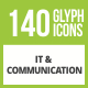 141 IT & Communication Glyph Inverted Icons - GraphicRiver Item for Sale